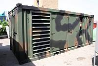 20ft sound-attenuated container for gen-set - military type with polychrome paint