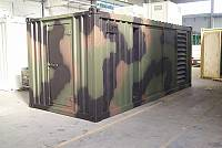20ft sound-attenuated container, military type, with polychrome paint